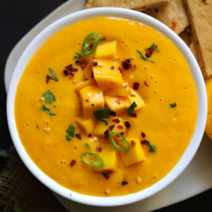 A sweet and spicy mango chili dip