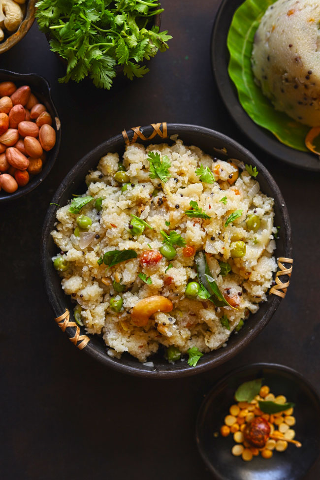 Rava Upma is a vegetarian South Indian breakfast porridge prepared with semolina and fresh vegetables.