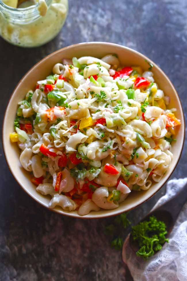 Macaroni Salad is a pasta salad packed with fresh veggies, and a creamy dressing