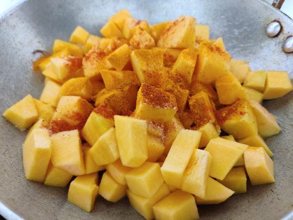Pumpkin Sabzi Cooking Steps