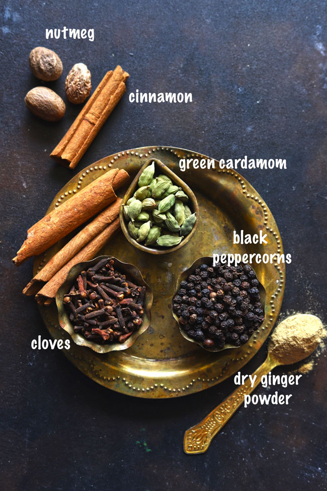 Ingredients for making tea masala at home