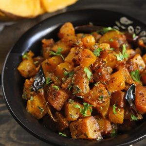 Kaddu Ki Sabzi is a sweet and savory Indian style pumpkin stir fry.