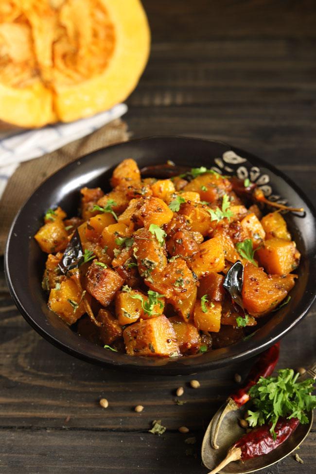 Kaddu Ki Sabzi is a sweet and savory Indian style pumpkin stir fry