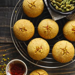 Nankhatai is an eggless, traditional Indian shortbread cookies prepared with ghee and gram flour.