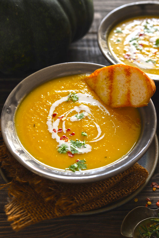 Roasted pumpkin soup is a hearty and filling, gluten-free vegan soup.
