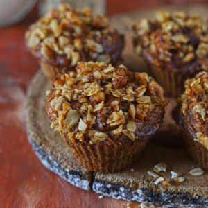 Breakfast Apple Muffin With Crumbly Oats Streusel Topping