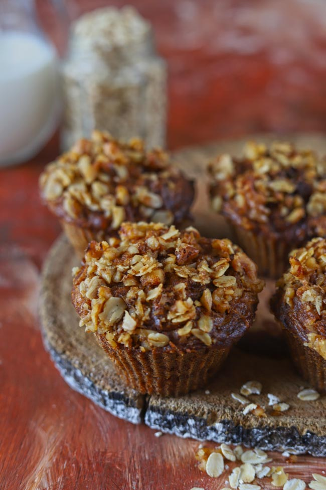 Breakfast Apple Muffins With Crumbly Oats Streusel Topping