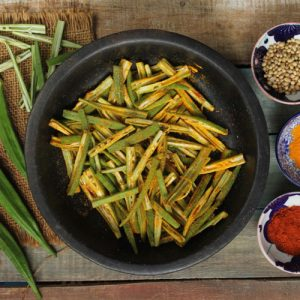 Thinly Cut Okra Covered With Spices