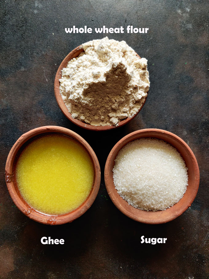 Ingredients - Wheat Flour, Ghee, Sugar For Wheat Halwa