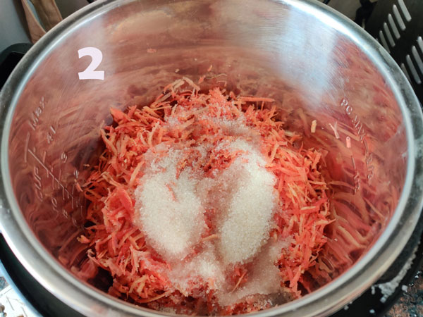 Carrot Halwa Cooking In An Instant Pot