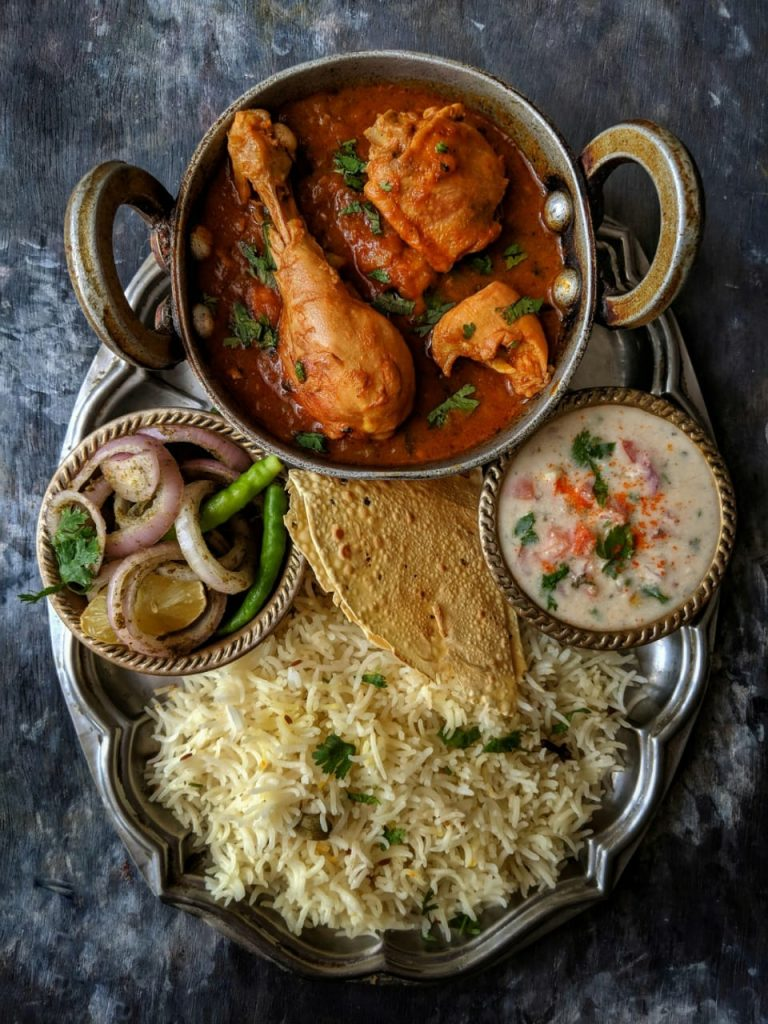 Chicken Curry Indian Thali
