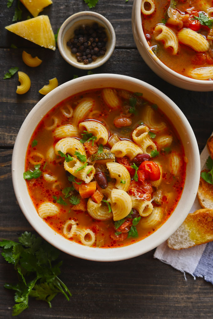 Classic Vegetable Pasta Soup In A Bowl