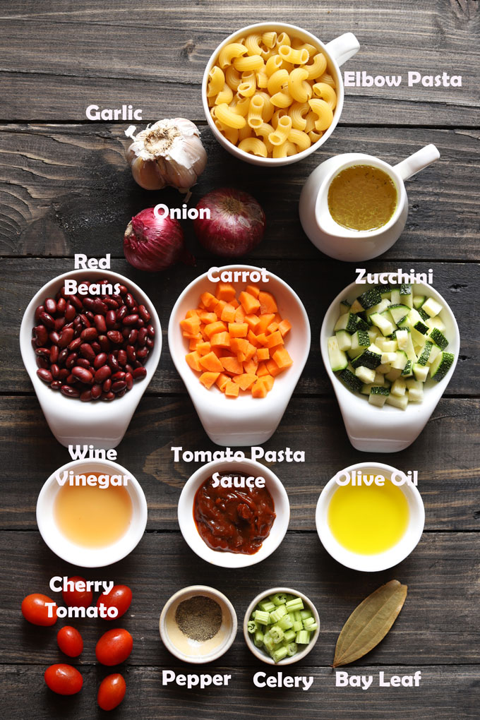Ingredients Required For Vegetable Pasta Soup