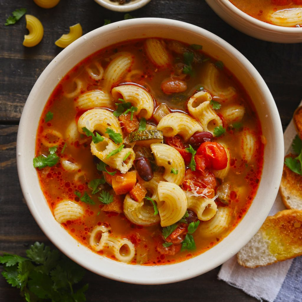 Vegetable Pasta Soup In A Bowl