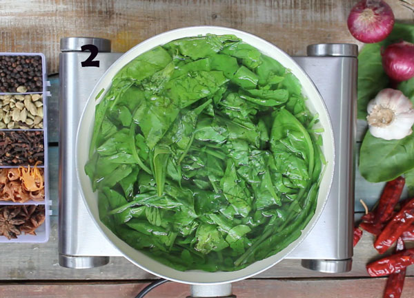 Spinach Boiling In Hot Water In A Saucepan