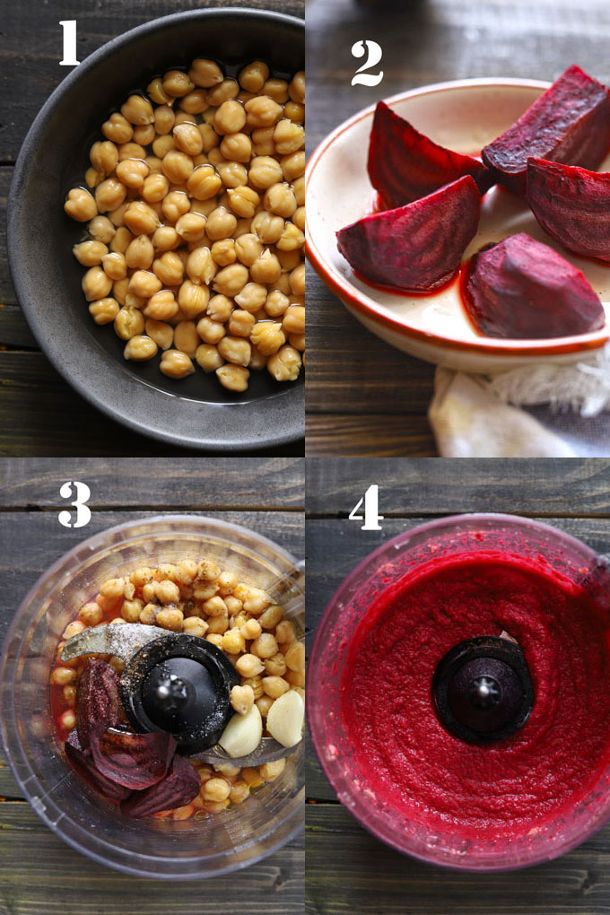 Beet Hummus Cooking Steps