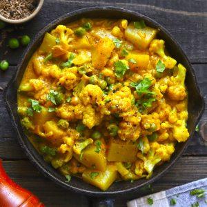 Creamy Cauliflower Peas Curry In A Pan