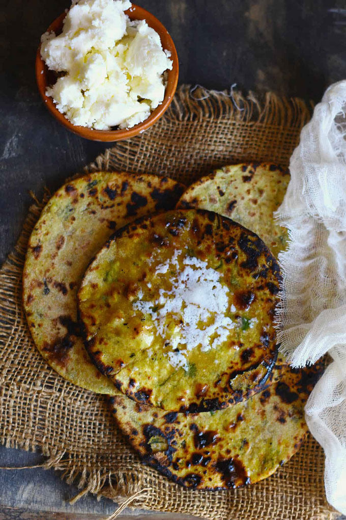 Dal Paratha With White Butter