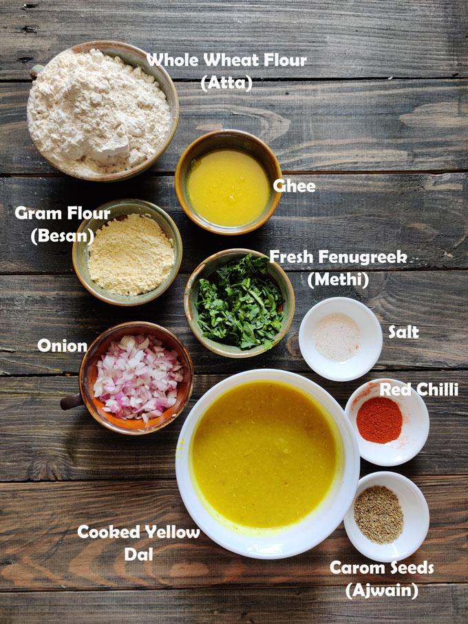 Ingredients For Making Dal Paratha