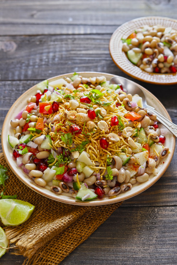 Lobia Chaat With Toasted Peanuts, Pomegranate Seeds