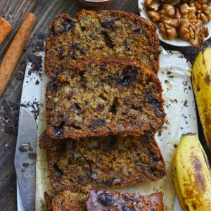 Aerial shot of eggless banana bread slices on a parchment paper
