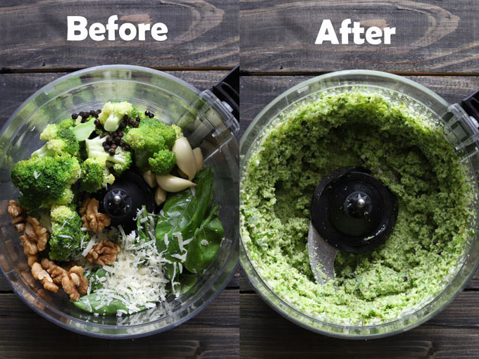 before and after broccoli pesto in food processor.