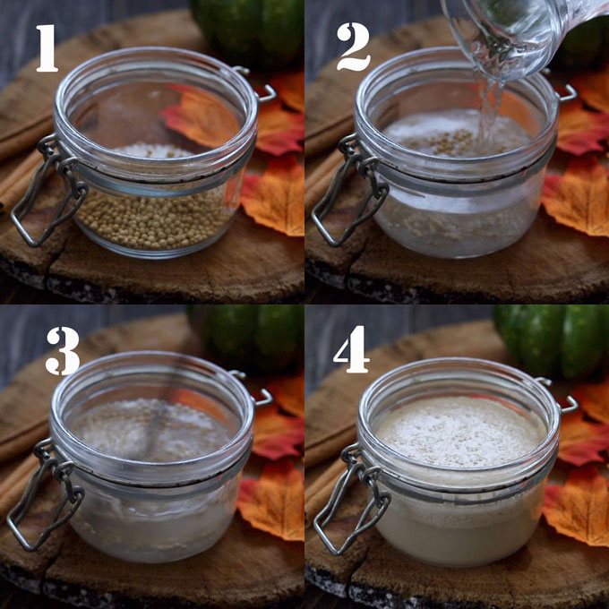 Four step process of activating the yeast in a glass jar