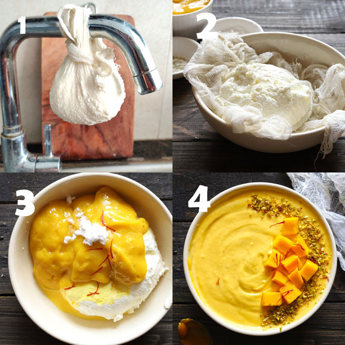 Step-By-Step Process Shots of Making Indian Style Mango Yogurt