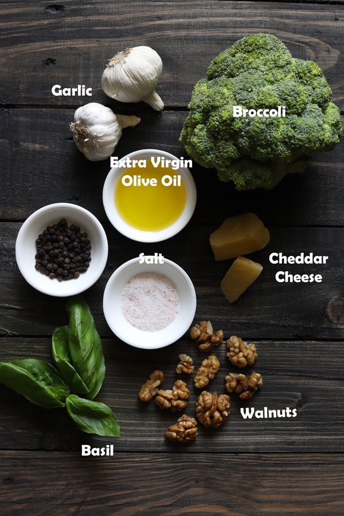 Aerial view or labeled ingredients on wooden table