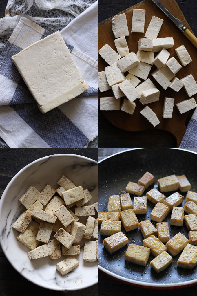 A collage of 4 pictures of the tofu cooking process: pressing, cutting, seasoning and cooking.