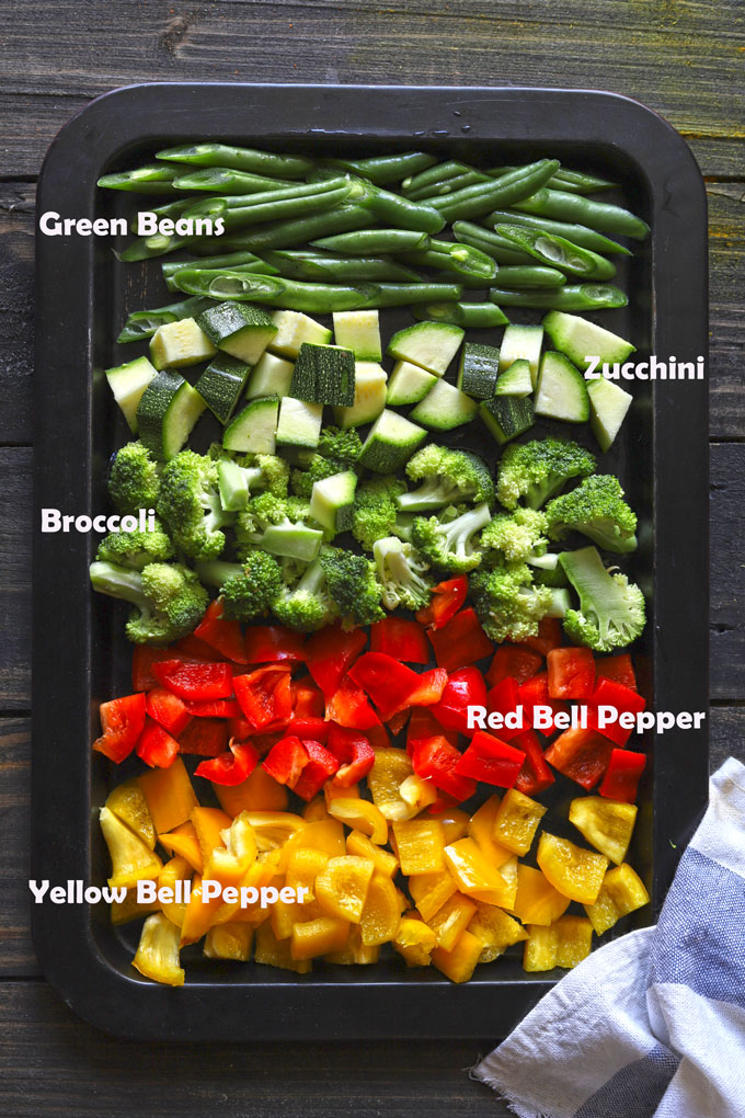 A pan of the vegetables used in this dish: green beans, zucchini, broccoli, red bell pepper and yellow bell pepper