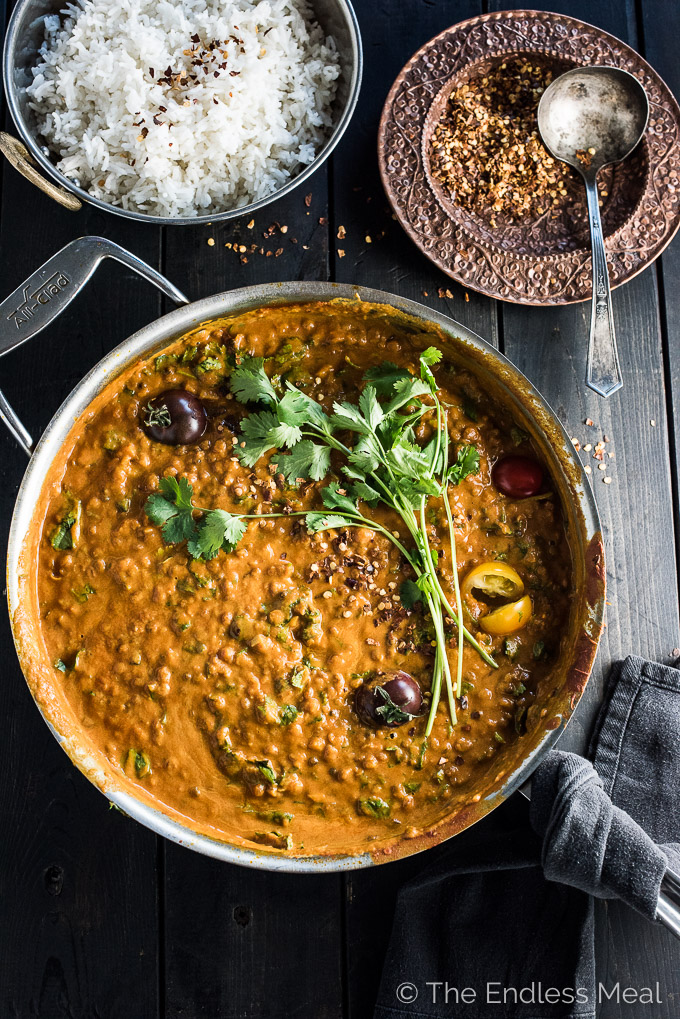 Creamy Coconut Lentil Curry in a casserole