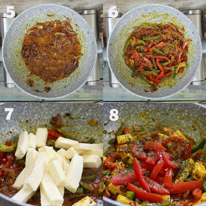 Collage Of Vegetable Jalfrezi Cooking Steps