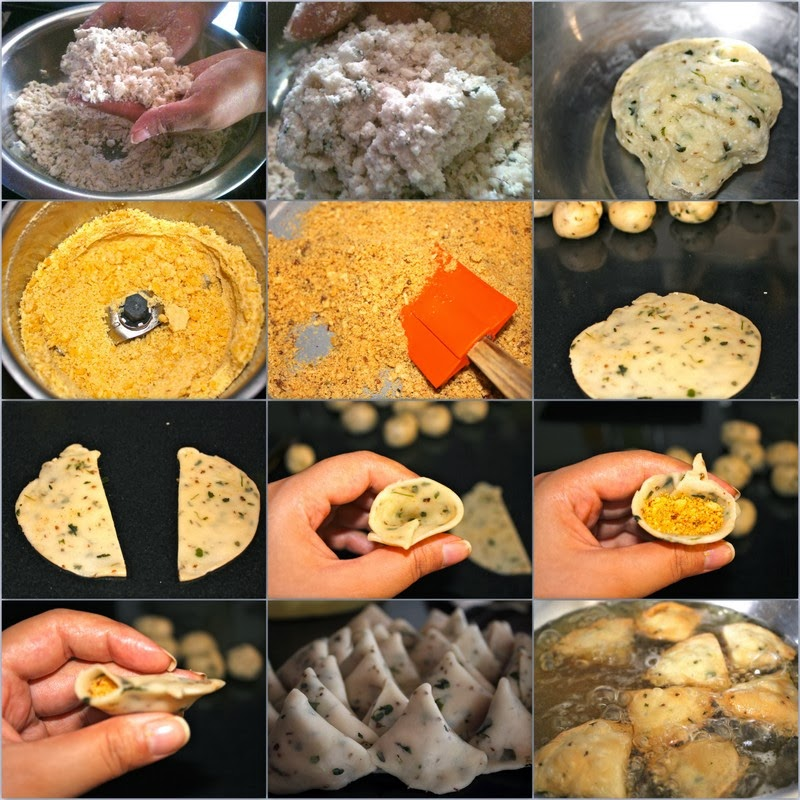 Moong Dal Samosa Step By Step Cooking Process Collage