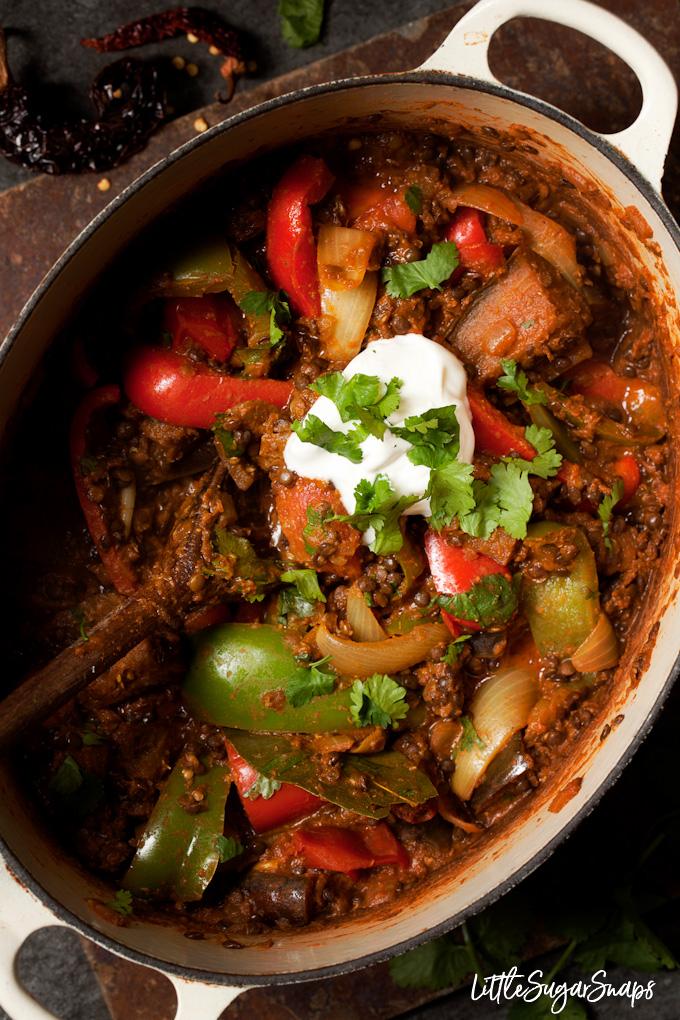 Vegetarian Rogan Josh in a casserole