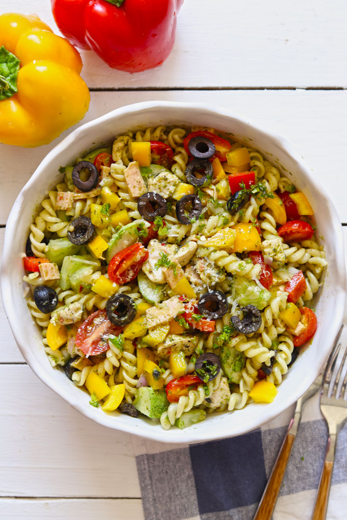 aerial shot of chicken pasta salad with a herb dressing