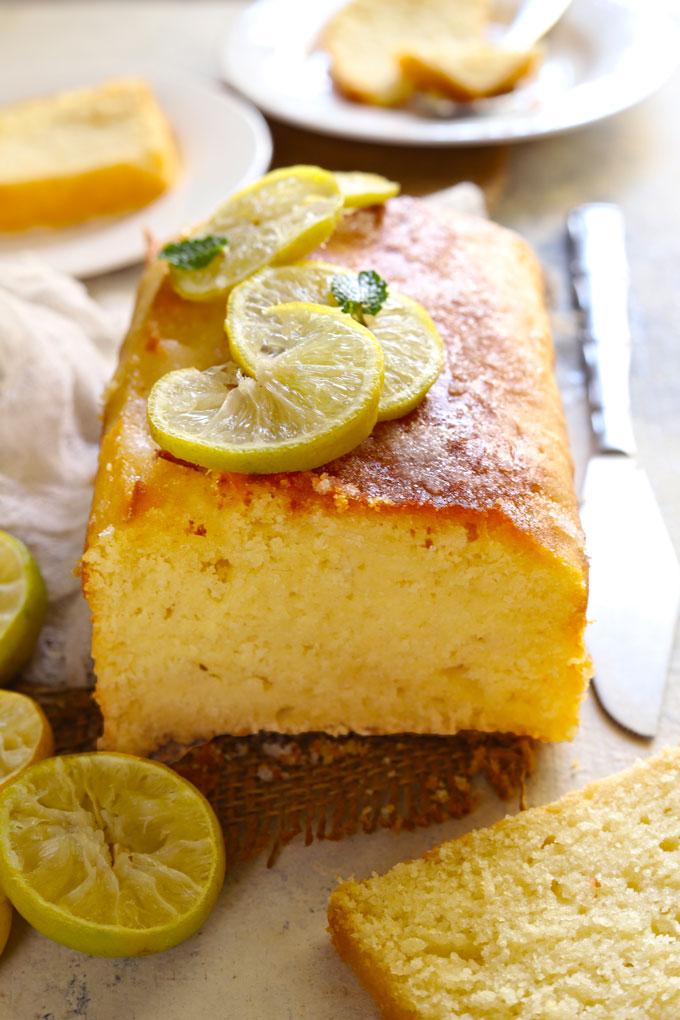 Side shot of sliced pound cake loaf