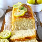 Side shot of sliced lemon pound cake loaf