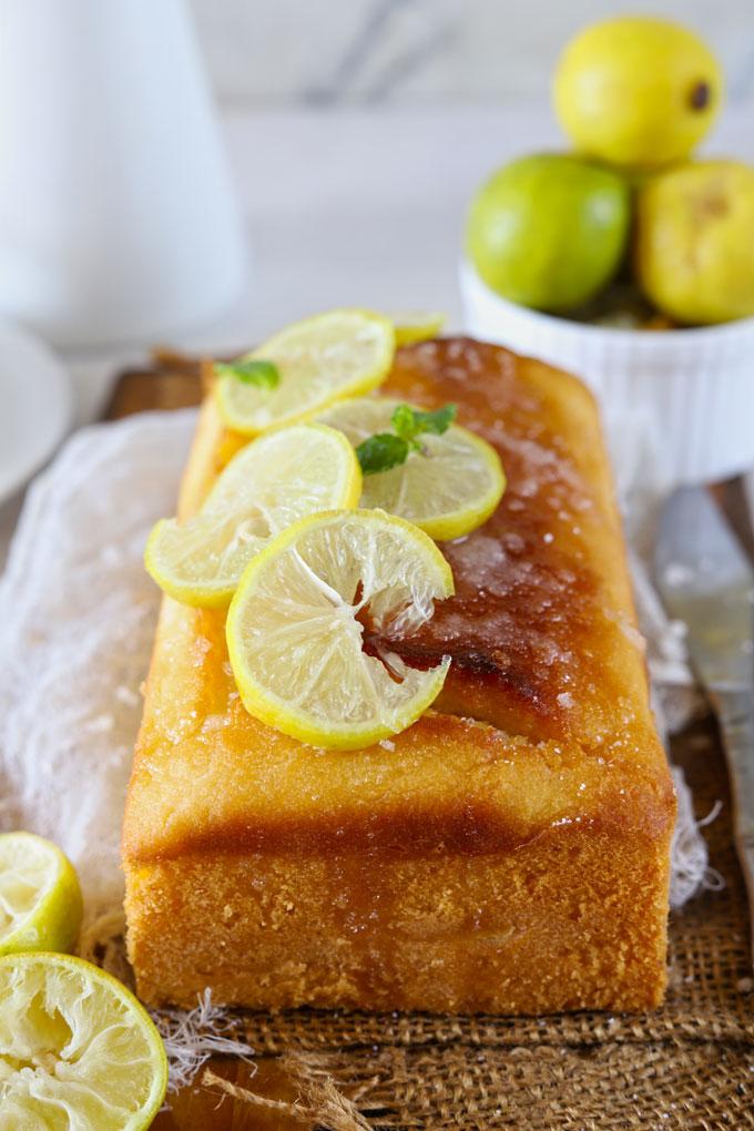 Side shot of lemon pound cake loaf.