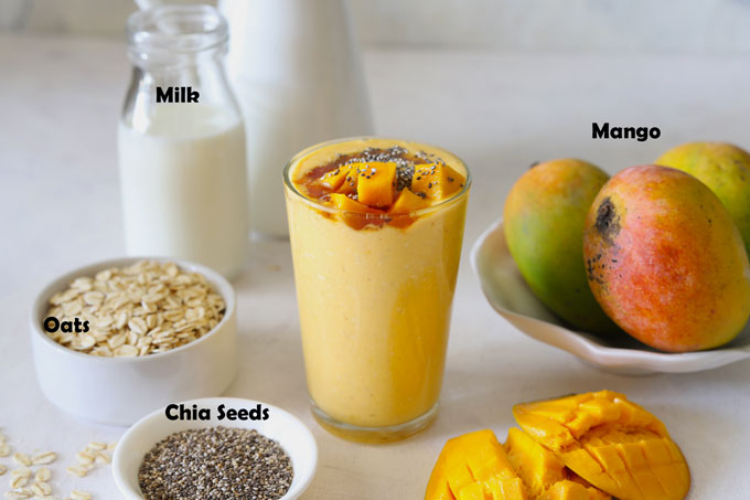 Ingredients For Mango Oats Smoothie