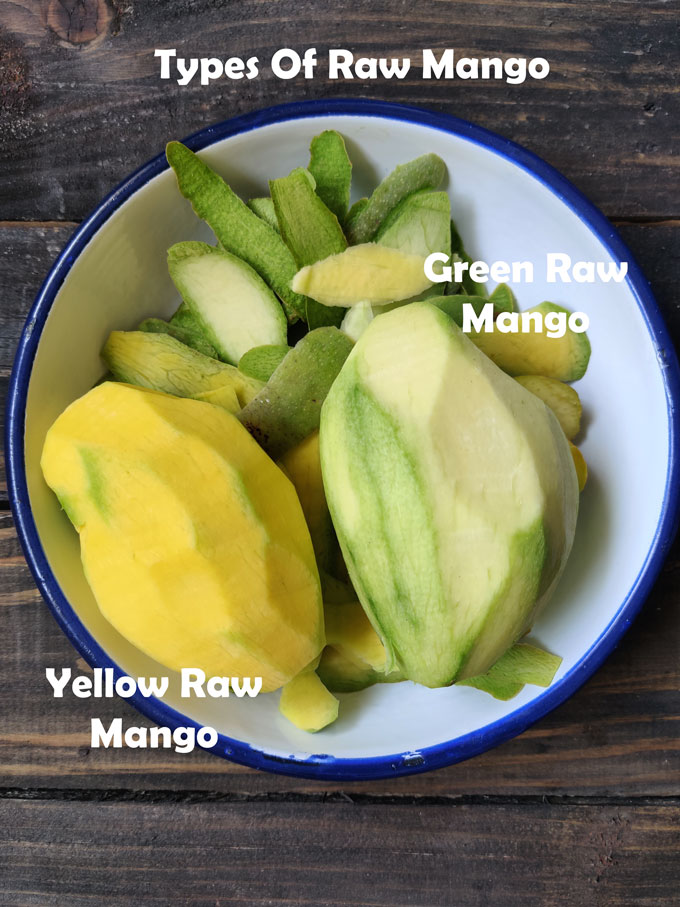 Aerial shot of two types of raw mango