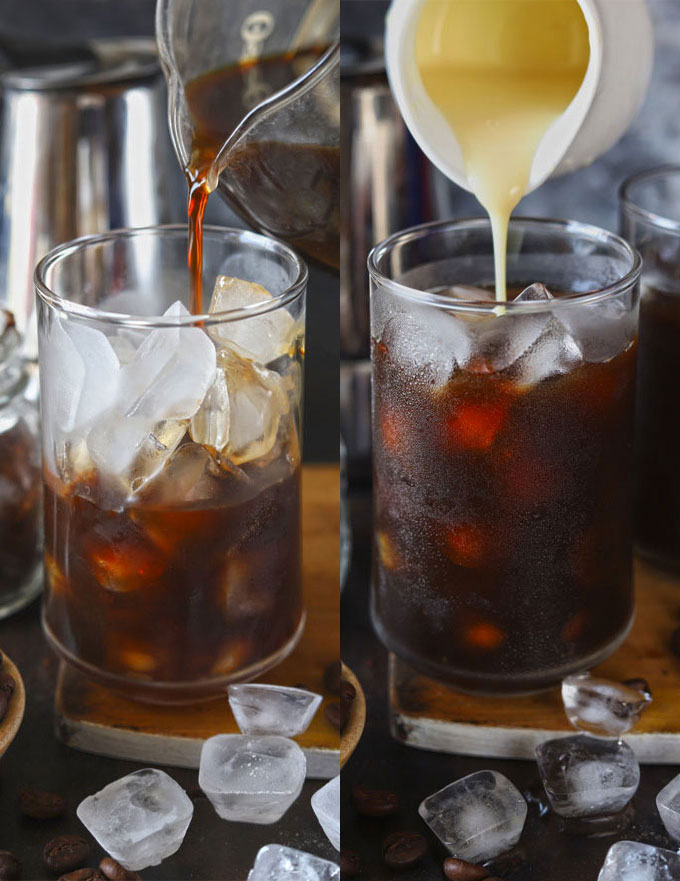 Collage of pouring Vietnamese style iced coffee