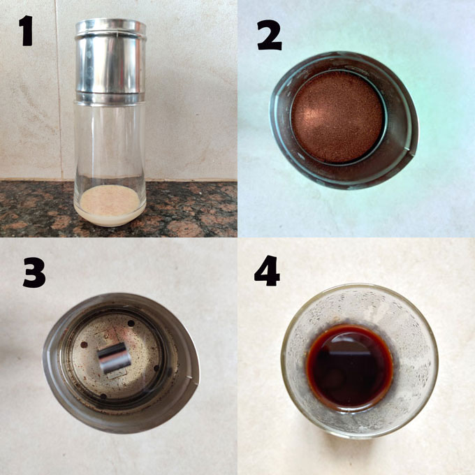 Collage of step by step Vietnamese style iced coffee