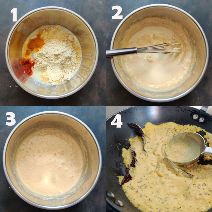 Collage of Punjabi kadhi cooking steps