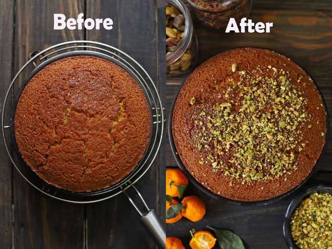 Collage of semolina cake before and after glazing with lemon syrup.