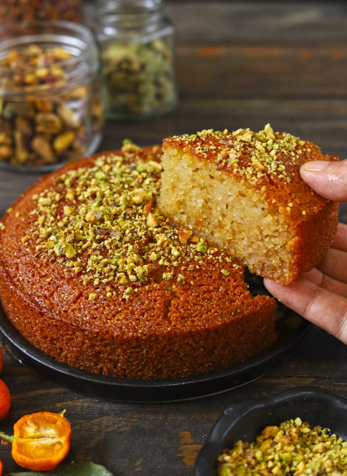 Side shot of eggless semolina cake