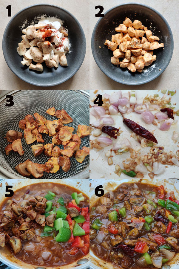 collage of chilli mushroom cooking steps