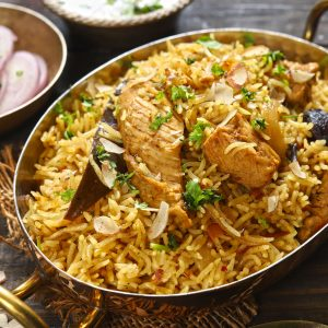 close up side shot of instant pot chicken pulao