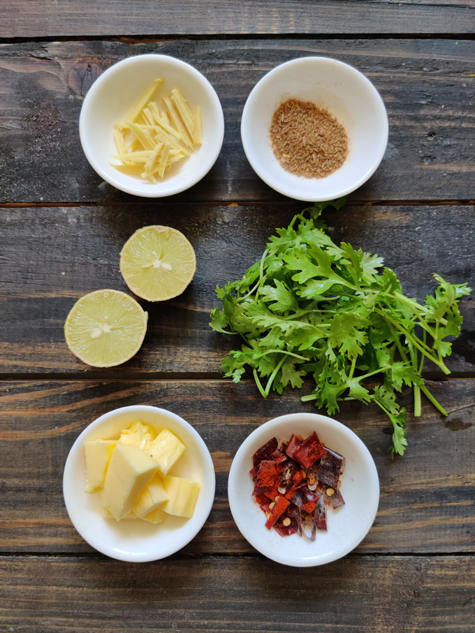 aerial shot of ingredients for dal moradabadi