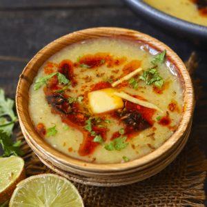 side shot of moradabadi dal in a bowl